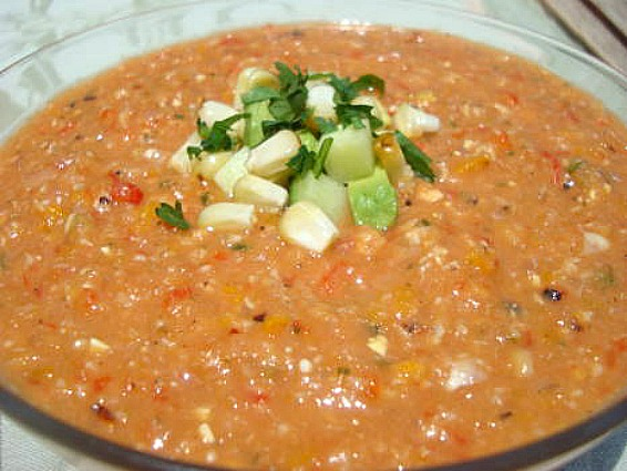Grilled Summer Vegetable Gazpacho - Peanut Butter and Julie