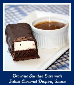Snake River Grill's Famous Brownie Sundae Bars with Salted Caramel Dipping Sauce