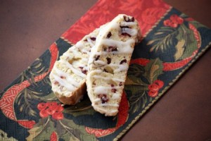 Lemon Glazed Almond, Anise and Cranberry Biscotti