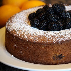 Meyer Lemon and Blackberry Olive Oil Polenta Cake