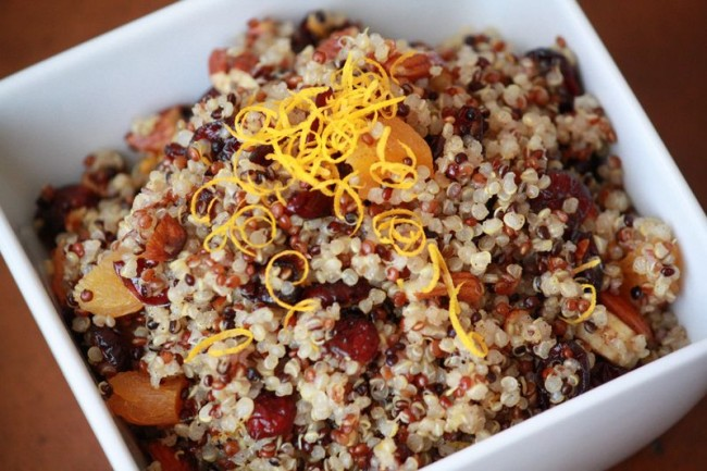 Tri-Color Maple Cranberry Breakfast Quinoa