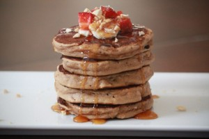 Whole Grain Peanut Butter and Banana Pancakes
