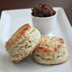 Blue Cheese Walnut Biscuits with Bacon Date Jam