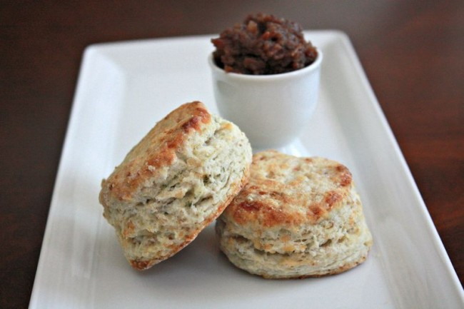 Blue Cheese and Walnut Biscuits with Bacon Date Jam