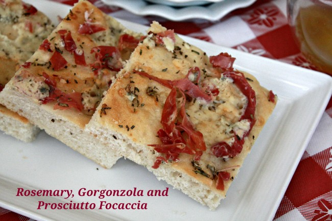 Rosemary, Gorgonzola and Prosciutto Focaccia - Peanut Butter and Julie