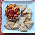 "Flaky Cinnamon-Sugar Pie Crust ""Chips"" and Strawberry Peach Salsa"