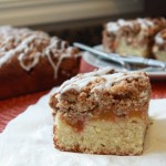 Fresh Peach Crumb Cake with Vanilla Glaze