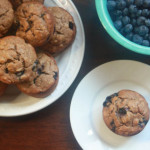 Whole Wheat Huckleberry Banana Muffins