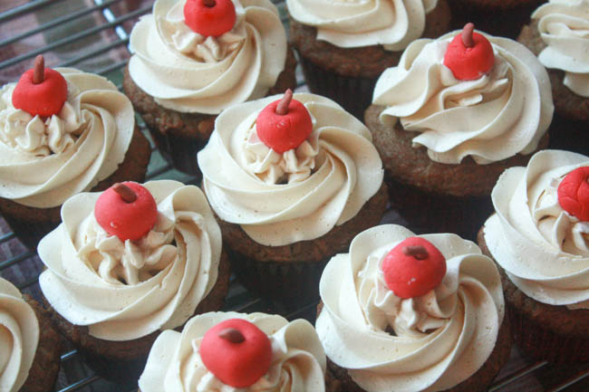 Caramelized Apple Cupcakes with Spiced Cider Buttercream