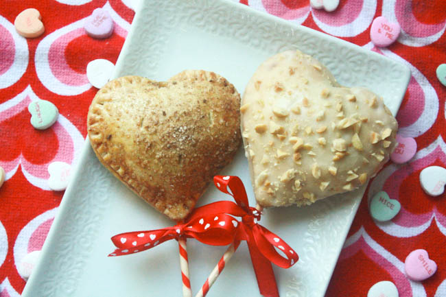 Heart Shaped Cinna-Monkey Pie Pops in Whole Wheat Crusts
