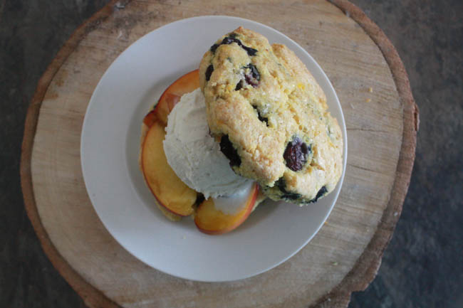 Peach Shortcakes with Lemony Blueberry-Cornmeal Biscuits