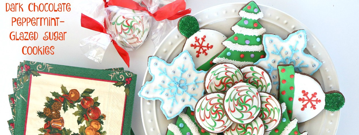 Dark-Chocolate Peppermint-Glazed Sugar Cookies