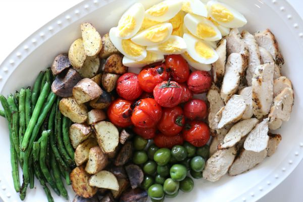 Grilled Chicken Nicoise Salad with Maple Mustard Vinaigrette