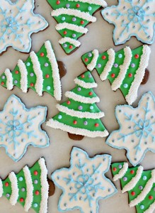 Dark Chocolate Peppermint Christmas Tree and Snowflake Cookies