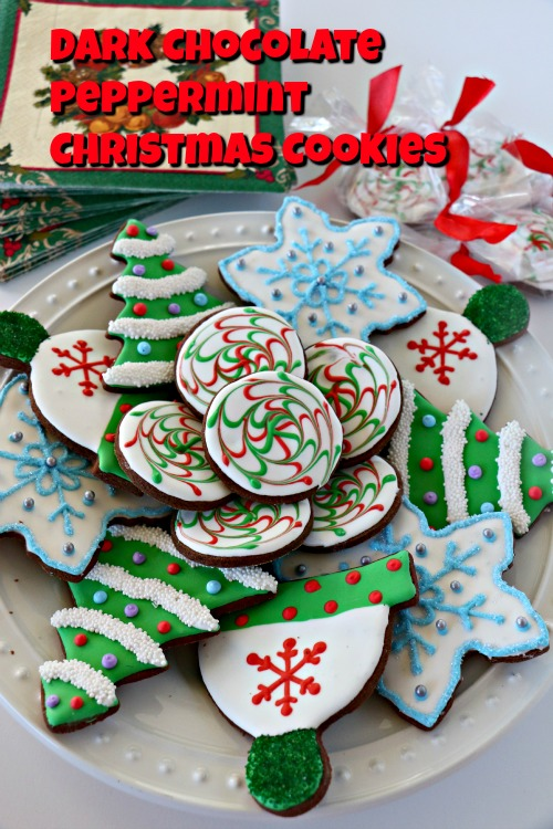 Dark Chocolate Sugar Cookies with Peppermint Icing