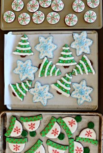 Decorated Dark Chocolate Peppermint Holiday Cookies