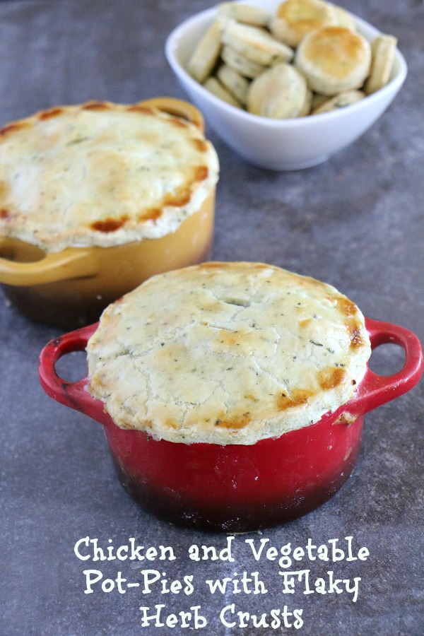 Chicken and Vegetable Pot Pies with Flaky Herbed Crusts