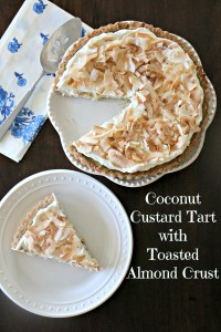 Coconut Custard Tart in a Toasted Almond Crust