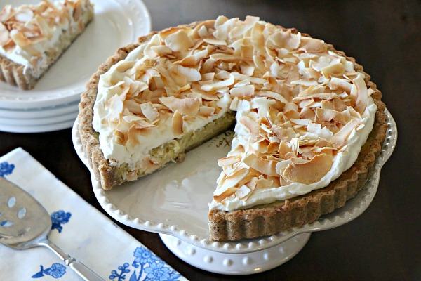 Coconut Custart Tart with Toasted Almond Crust