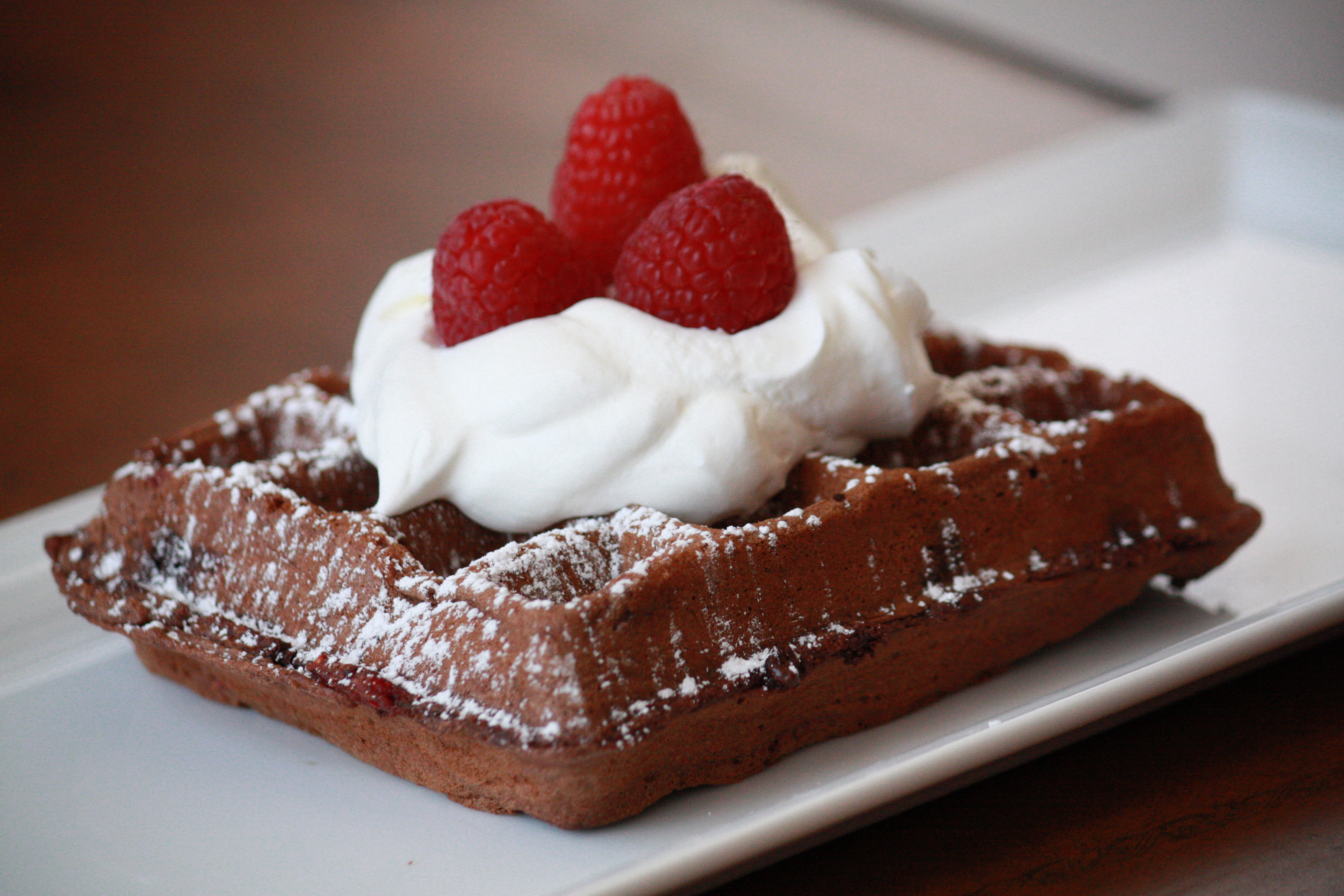 Double Chocolate Whole Wheat Raspberry Waffles - Peanut Butter and ...