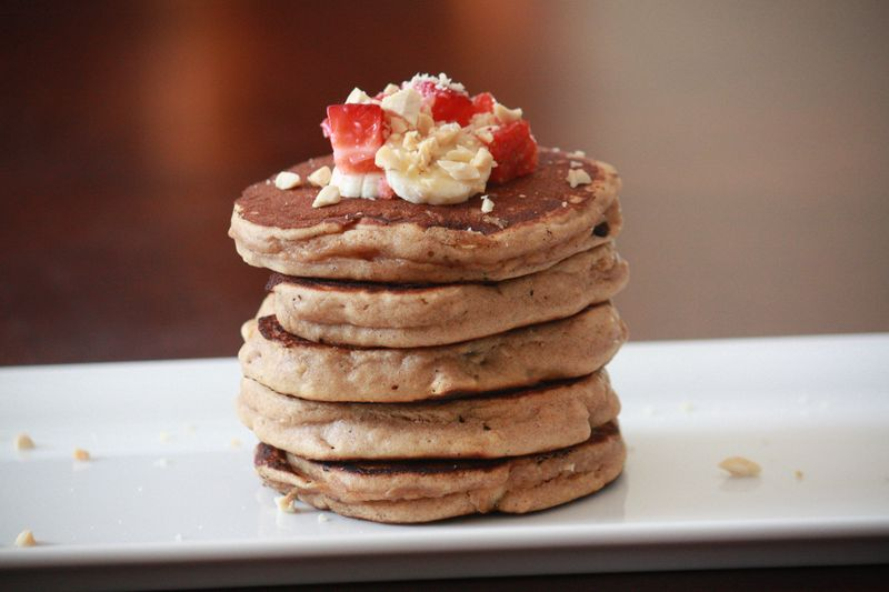 Whole Grain Peanut Butter Banana Pancakes